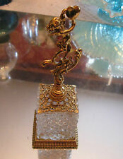 LARGE AMERICAN STYLEBUILT PATTERN GLASS AND GILT CHERUB FINIAL PERFUME BOTTLE