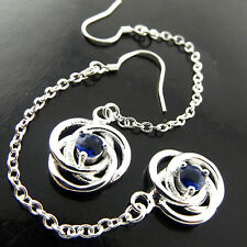 A426 GENUINE REAL 925 STERLING SILVER S/F LADIES SAPPHIRE HOOK DROP EARRINGS