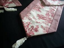 "80"" RED ON CREAM~WAVERLY Country Life Toile/Checked~Lined Tablerunner Tassels!"