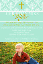 30 Invitation Baby Baptism Christening Photo Card Personalized Mint Green Gold