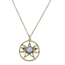 Lux Accessories Burnish Gold Double Crescent Moon Pentagram Blue Opal Necklace
