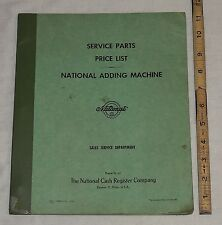 Original NCR National Cash Register Adding Machine Service Parts Price List 1962
