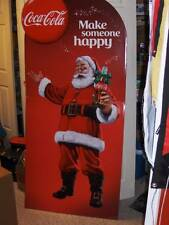 COCA COLA SANTA CARDBOARD STANDEE SIGN~MAKE SOMEONE HAPPY~2014~UNUSED~6FTx33in.