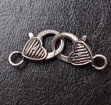 10pcs tibetan silver Small Heart lobster clasp 25X14MM JK0420