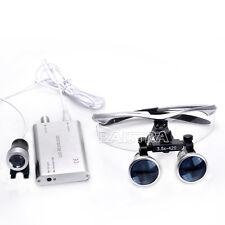 Dental Silver Surgical Medical Binocular Loupes 3.5X 420mm + LED Head Light Lamp