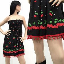 RARE Vintage 80s Pin Up Rockabilly Dress Cherry Tassel Strapless Hot Rod OS