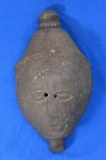 * Antique 1800's HIMALAYAN India Tribal Carved Wood Mask, Himachal Pradesh