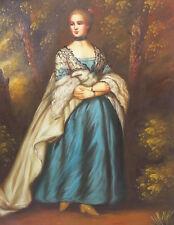 Dipinto Olio su Tela - 50x60 cm - Ritratto di Dama - Quadro Donna Figura Intera
