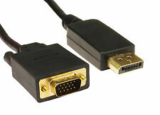 2m Cable DisplayPort DP a VGA Monitor de Oro Plomo