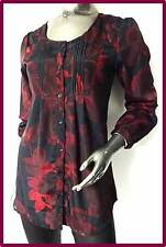NEW Next size 8 BLACK RED ABSTRACT FLORAL TUNIC BLOUSE TOP RRP £26, 3dayOFFER
