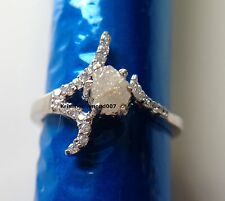 0.58+ ct Rare Natural Snow White Rough Diamond Engagement .925 Silver Ring 7 nr