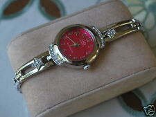 Q&Q by Citizen Silver Tone Lady Watch w/Diamond Bezel & Red Dial