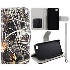 For Apple  Iphone 4 4S Leaf Grass Camouflage Flip Wallet Leather Case Cover Gl