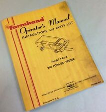 FARMHAND 210 FORAGE-FEEDER F44-A OPERATORS OWNERS MANUAL INSTRUCTIONS PARTS LIST