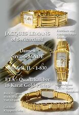 LUXUS DAMENUHR JACQUES LEMANS SWISS MADE SEHR DEUTLICH LESBAR 10 MICRON GOLDPLAT