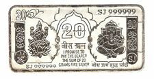 20 Gram Pure 999 BIS Hallmarked Loose Silver Ganesh Lakshmi Note / Bar for Gift