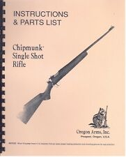Oregon Arms Chipmunk Single Shot Rifle Instructions & Parts List Owners Manual