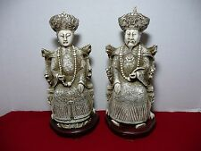 "Asian/Chinese/Oriental Pair Statues Emperor Empress White 12"", & wooden stands"