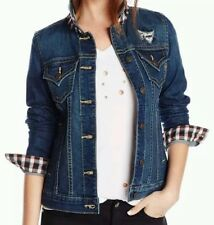 Miss Me Jeans Women's Clothing Gingham Detail Red Plaid Denim Jacket JJ9035A NEW