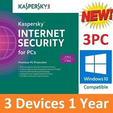 Kaspersky Internet Security 2017 3PC 1Yr AntiVirus Windows 10 Next Day Delivery