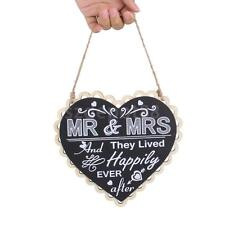 Wood Heart Blackboard Saying MR & MRS And They Lived Happily Ever After
