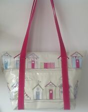Large insulated beach bag/picnic bag/tote bag In Pink Beach Hut Oilcloth
