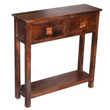 SOLID WOOD WALNUT 2 DRAWER TELEPHONE HALL CONSOLE TABLE WITH SHELF