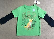 GAP LONG SLEEVE T SHIRT IN GREEN WITH BLUE SLEEVES WITH FOX ON FRONT-AGE 2y BNWT