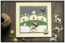 Beautiful Handmade Christmas Card - REINDEER IN SNOW + envelope, made in GB