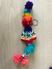 PERUVIAN CHULLO HAT KEYRING WITH BEADS MULTICOLOURED RAVE FESTIVAL  HAND MADE 3