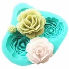 Silicone 3D Rose Flower Fondant Cake Chocolate Sugarcraft Mould Mold Tools 4size