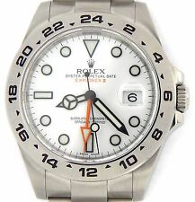 Men Rolex Stainless Steel Explorer II Watch 42mm Orange Hand w/White Dial 216570