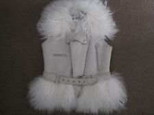 ALEXANDER McQUEEN WHITE SHEEPSKIN SHEARLING GILET with MONGOLIAN FUR TRIM UK 8