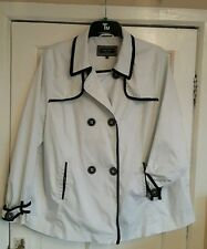 White jacket. Size 18. Principles / Debenhams. Black trim. Hip length. Lined