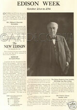 Antique '17 Thomas EDISON WEEK Favorite Invention Inventor Phonograph CONTEST Ad