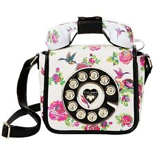 "NEW BETSEY JOHNSON White Floral ""HOTLINE PHONE"" Crossbody Handbag SALE"