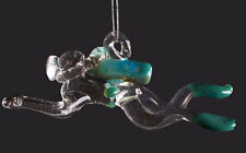 Hand Blown Glass Aqua Scuba Diver, Ornament, Suncatcher, Fan Pull