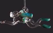 Hand Blown Glass Aqua Scuba Diver, Ornament, Suncatcher, Fan Pull