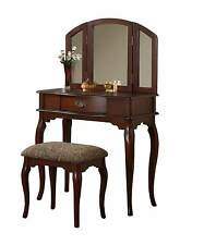 Wooden Make Up Tri-Fold Mirror Vanity Set with Stool and Drawer, Cherry