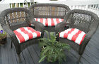 Red & Ivory Stripe Cushions for Wicker ~ 3 pc Set ~ Indoor Outdoor