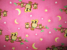 HOOT OWL IN TREES BABY OWLS STARS MOON PINK COTTON FLANNEL FABRIC FQ