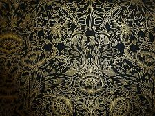 ORIENTAL FLOWER Fabric Fat Quarter Cotton Craft Quilting Gold Black