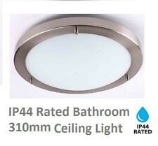 Modern IP44 Silver Chrome & Glass Flush 310mm Bathroom Ceiling Light Zone 1 2 3