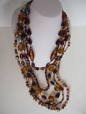 330g Art Deco Aventurine Foil Iridescent Art Glass Venetian Beads Necklace 12'