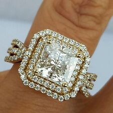 14k real Yellow Gold Princess Cut man made diamonds Engagement Wedding  Ring S 7