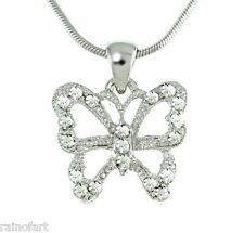 W Swarovski Crystal Butterfly Clear Wings Necklace Jewelry Pendant Gift
