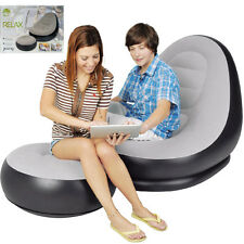 INFLATABLE DELUXE LOUNGE LOUNGER CHAIR WITH OTTOMAN FOOT STOOL SOFA RELAX COUCH