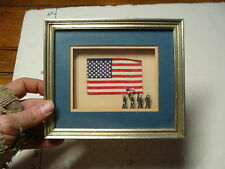 Nice Framed NAVY 4 tiny marching soldiers w/ flag and Flag Background shadow box
