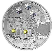 Canada 2015 1oz silver coin Holiday Reindeer Swarovski Crystal Elements mint7500