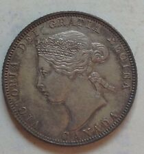 1870 AU Canada Silver 25 Cent Coin Canadian Twenty-Five Cents Quarter